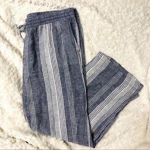 Blue and White Stripe Wide Leg Linen Blend Pants
